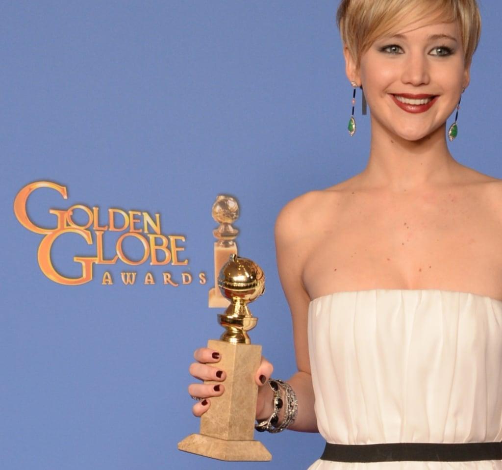 Jennifer Lawrence beamed following her big win.