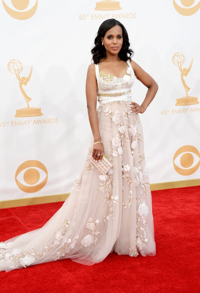 Kerry Washington was a girlie girl's dream in a white Marchesa dress peppered with flowers. Her jewels were by Fred Leighton.