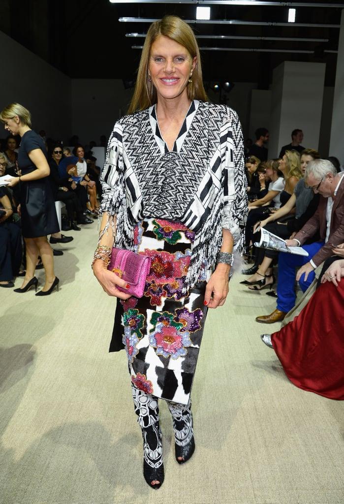 Anna Dello Russo arrived for Giambattista Valli in a colorful combo.