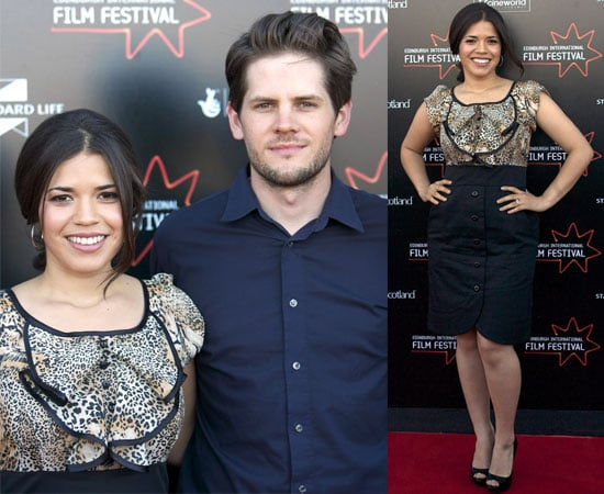 Pictures of Engaged Couple America Ferrera and Ryan Piers Williams at Edinburgh Film Festival Premiere of The Dry Land