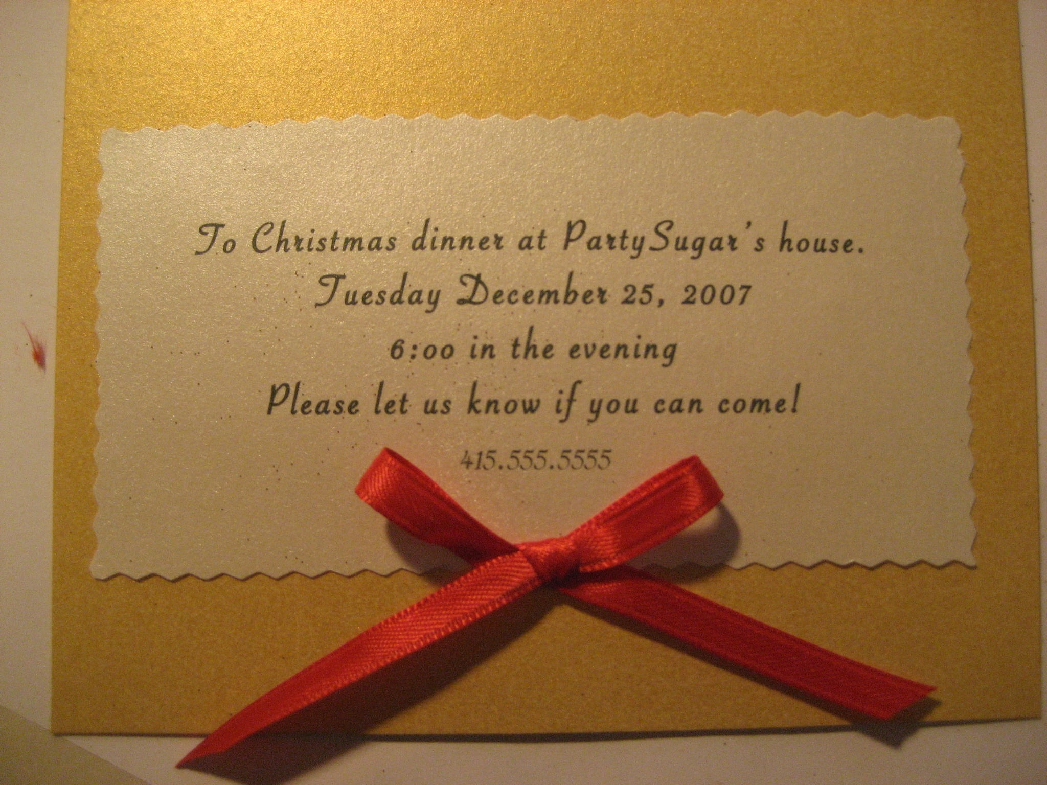 Come Party With Me: Christmas Dinner — Invite