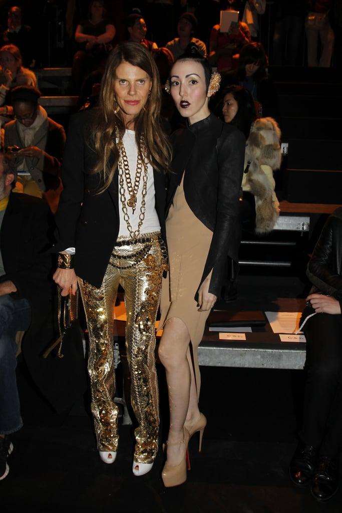 Anna Dello Russo added major sparkle to Mugler's front row alongside Michelle Harper.