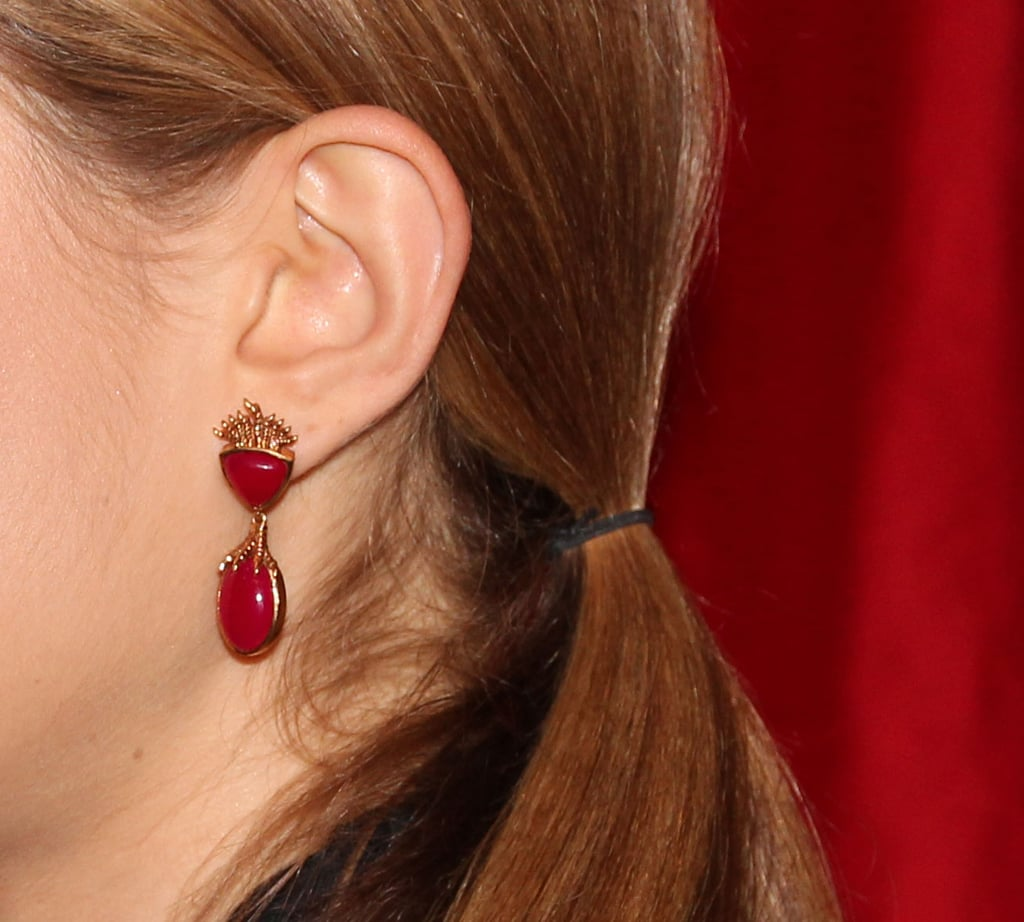 But we were distracted by her rather cool drop-earrings.