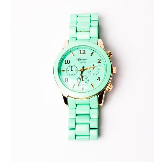 This Geneva oversize watch ($35) comes in a sweet minty hue, but its oversize shape keeps it from being too prissy. — Christina Pérez, Fashion News editor