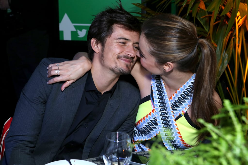 The couple cosied up to each other at Global Green USA's pre-Oscars party in Hollywood in Feb. 2013.