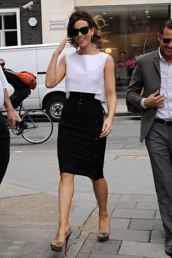 Kate Beckinsale wore a black and white dress with sunglasses in London.