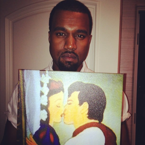 Kanye West was with girlfriend Kim Kardashian and her family —and a picture of Snow White.  Source: Instagram user krisjenner