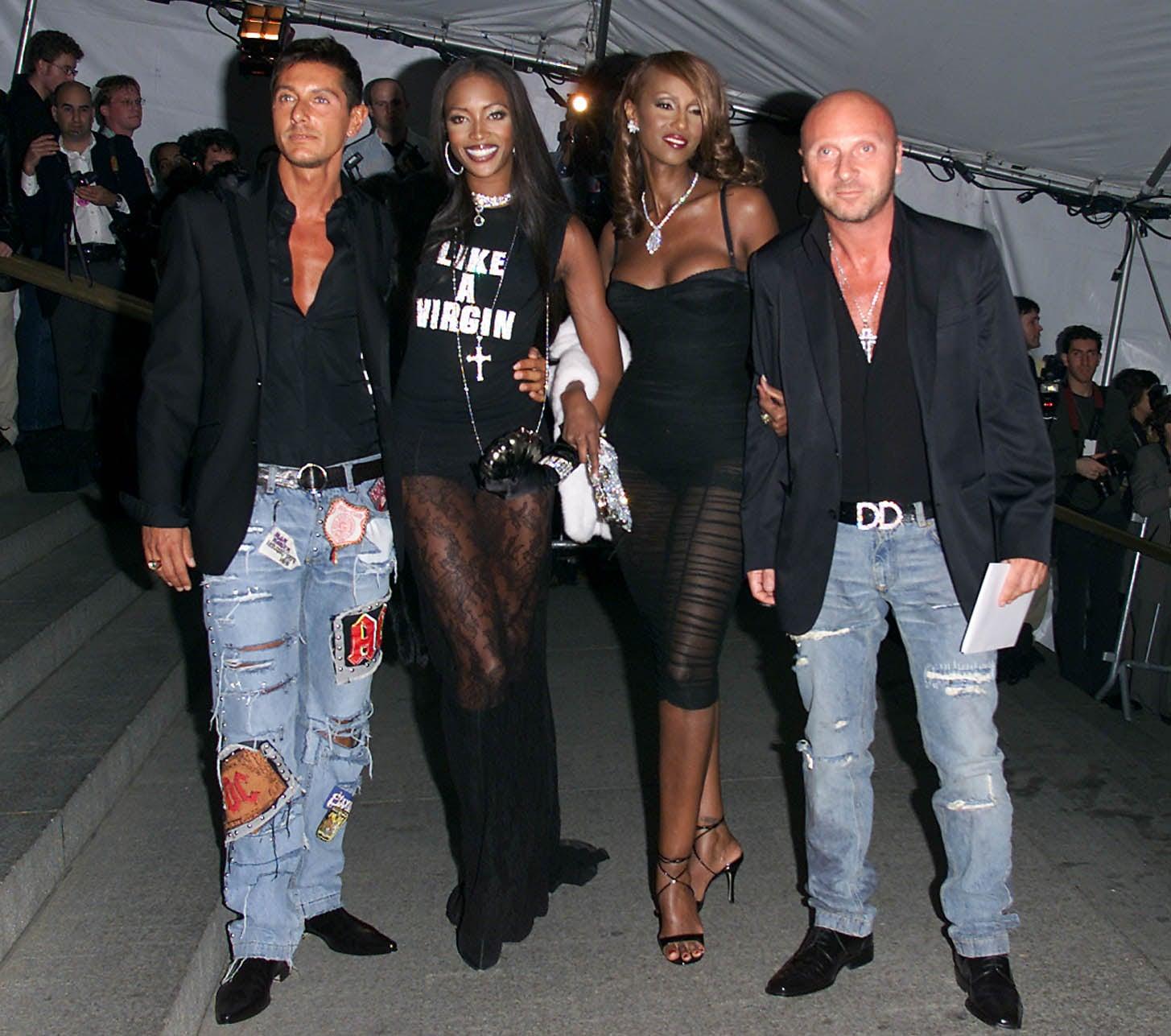 Stefano Gabbana, Naomi Campbell, Iman, and Domenico Dolce —2001