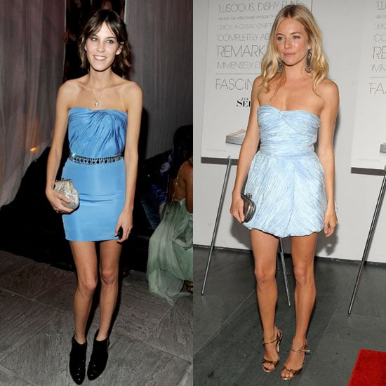 Alexa and Sienna both stepped out in sexy little strapless dresses with sweet, baby-blue hues.