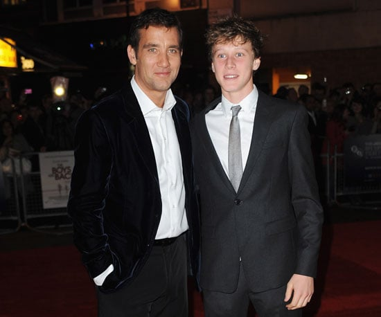 Slide Photo of Clive Owen and George Mackay at Premiere of The Boys Are Back In London