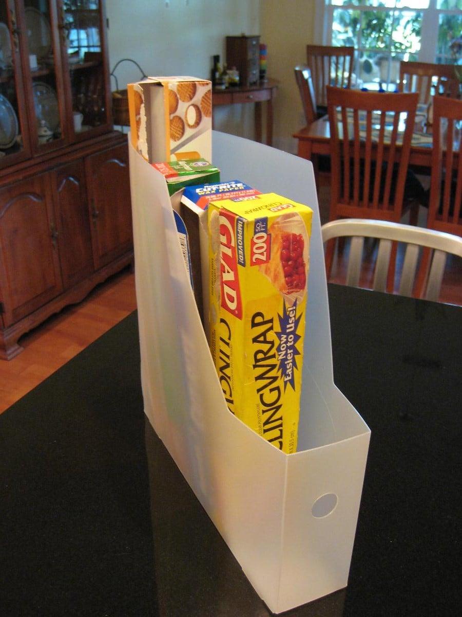 Magazine Holder Becomes a Kitchen Organizer
