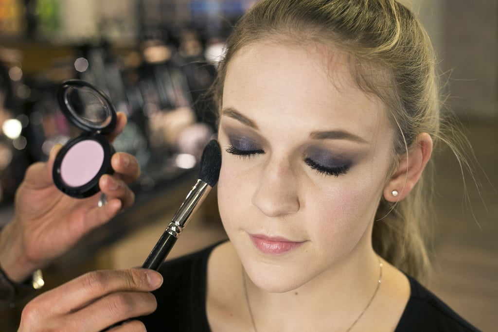 """""""Blush goes between the highlight and contour,"""" Jennings explains. Sweep it on the apples of the cheeks and blend out toward the top of your cheekbones for an uplifting effect.   To complement the deep purple smoky eye, try a lavender blush, like Full of Joy ($22). For medium to dark complexions, Jennings recommends the Breath of Plum shade."""
