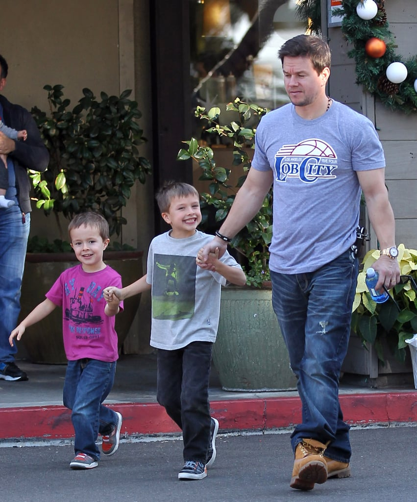 Mark Wahlberg Takes His Smiley Sons to Lunch