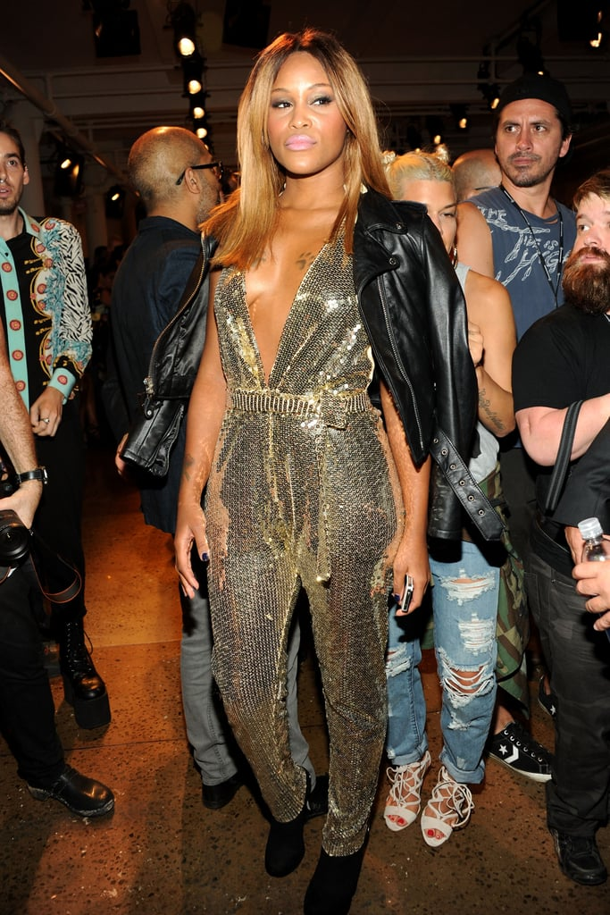 Eve wore a plunging, sparkly jumpsuit to The Blonds.