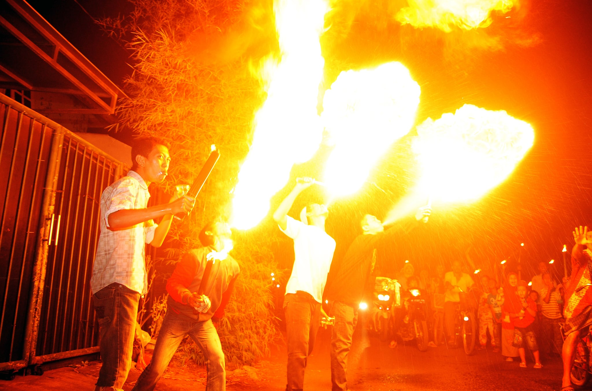 Fire lit up the air during a celebration in Sidoarjo, Indonesia.