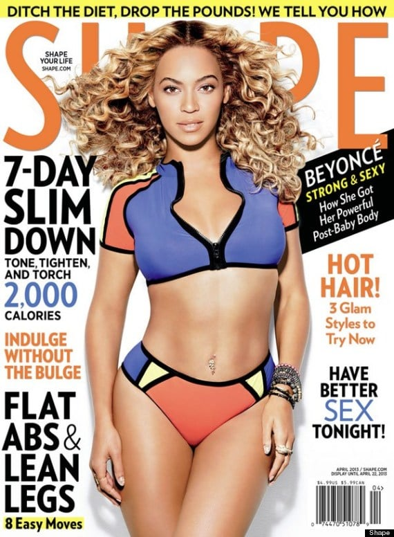 """Beyoncé showed skin in a sporty two-piece for the cover of Shape's April issue. She revealed that she gained 57 pounds while pregnant with Blue Ivy and """"didn't have a lot of time to lose the weight, because I scheduled a show three months after I gave birth, which I would never do again. I'm not a person that is naturally very thin. I am a person that has to work at keeping my body in shape."""""""