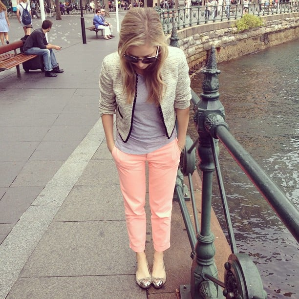 Ali looks super cute in her Topshop jacket, Zara tee, J.Crew pants and Senso flats.