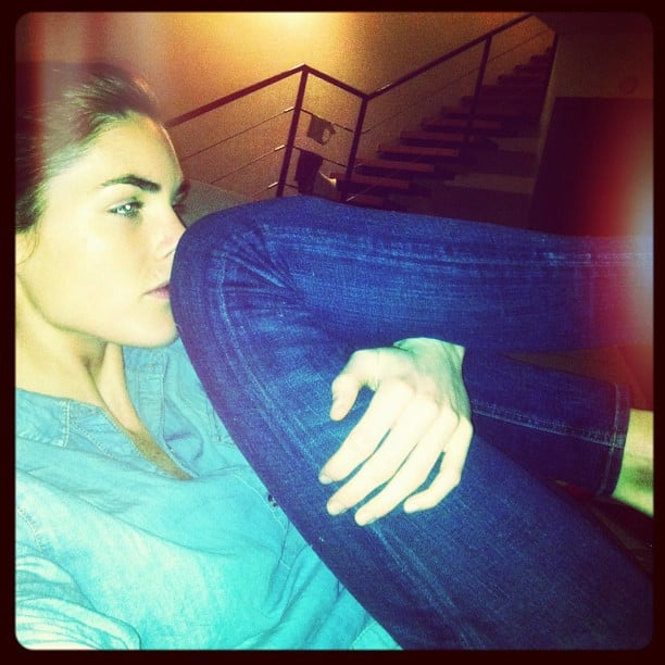 Hilary Rhoda, who watched the big show from home, showed off her version of Oscars attire. Source: Instagram hilaryhrhoda