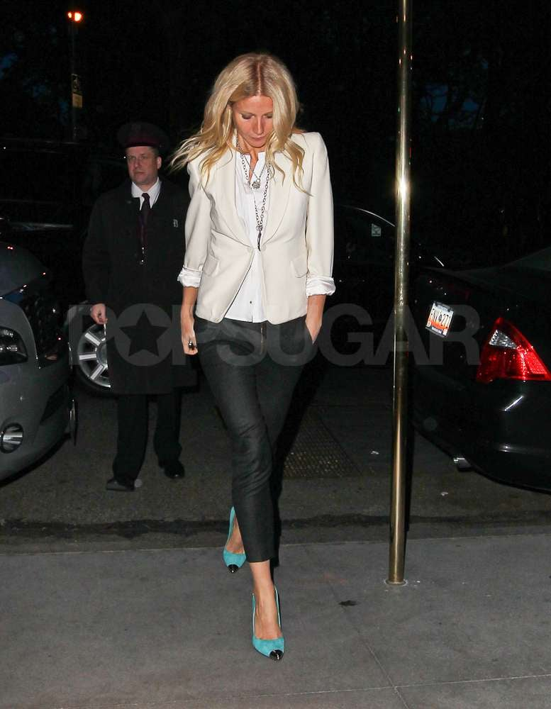 Gwyneth Paltrow wore a pair of bright heels while out in NYC.
