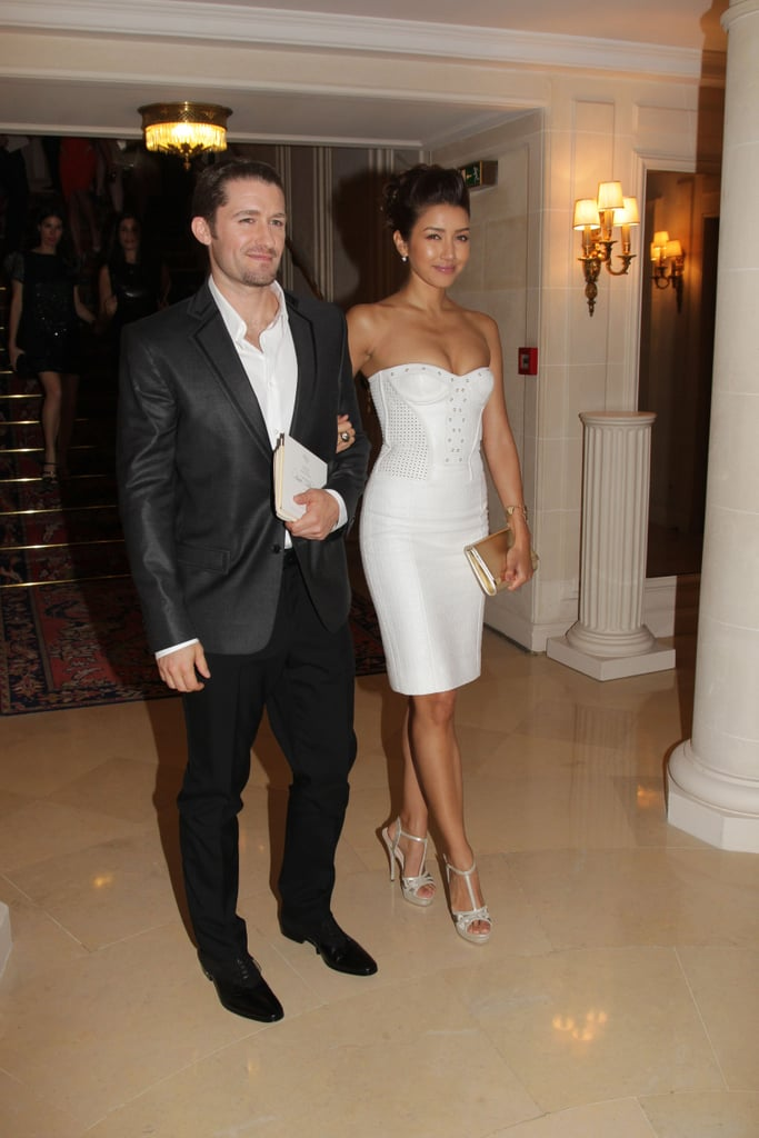 Matthew Morrison and Renee Puente made their way into the Versace show for Paris Fashion Week.