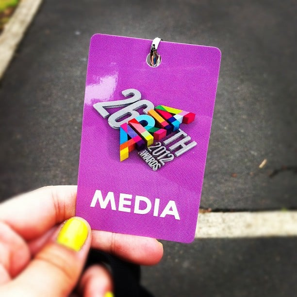 VIP access, ploise! Jess had her swing tag at the ready as she arrived at the 2012 ARIAs.