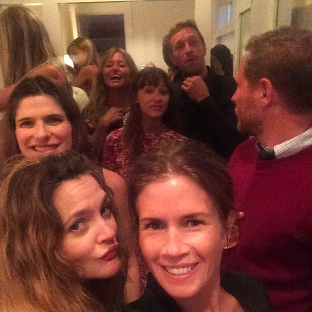 Drew Barrymore, Gucci Westman, Lake Bell, Rashida Jones, and Chris Martin posed for a group selfie at the birthday party.