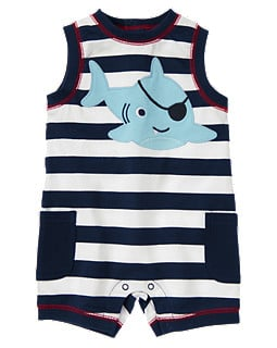 Gymboree's Pirate Shark Stripe One-Piece ($20, originally $25) is the absolutely sweetest way for your baby to get into the shark spirit!