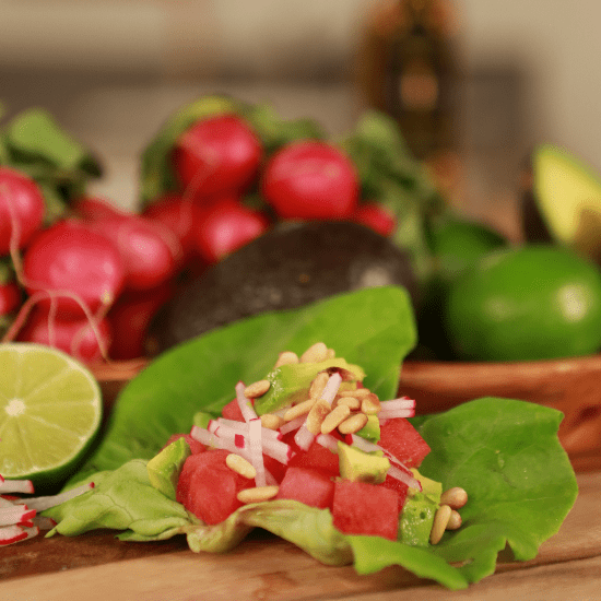 Watermelon, Radish, and Avocado Tacos