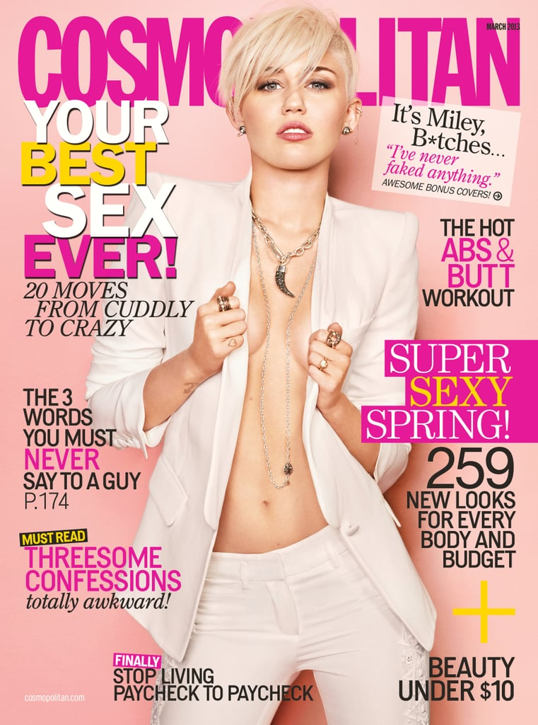 Miley Cyrus kicked off her big year with a big magazine interview. She made the cover of Cosmopolitan's March issue, where she gushed about her relationship with Liam Hemsworth and how she won't let competition in the music industry tear apart her friendship with Katy Perry. Source: Cosmopolitan