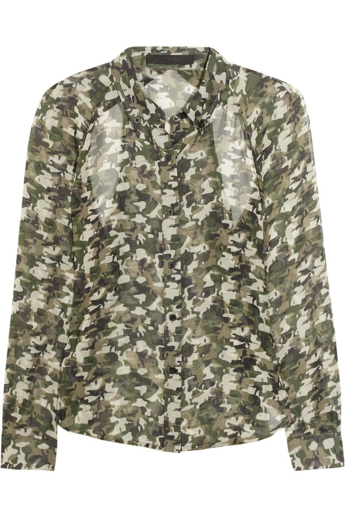 Tuck this floaty camouflage-print blouse into a pencil skirt for a cool, slightly edgy workday look. Karl Berdina Camo-Print Blouse ($210)