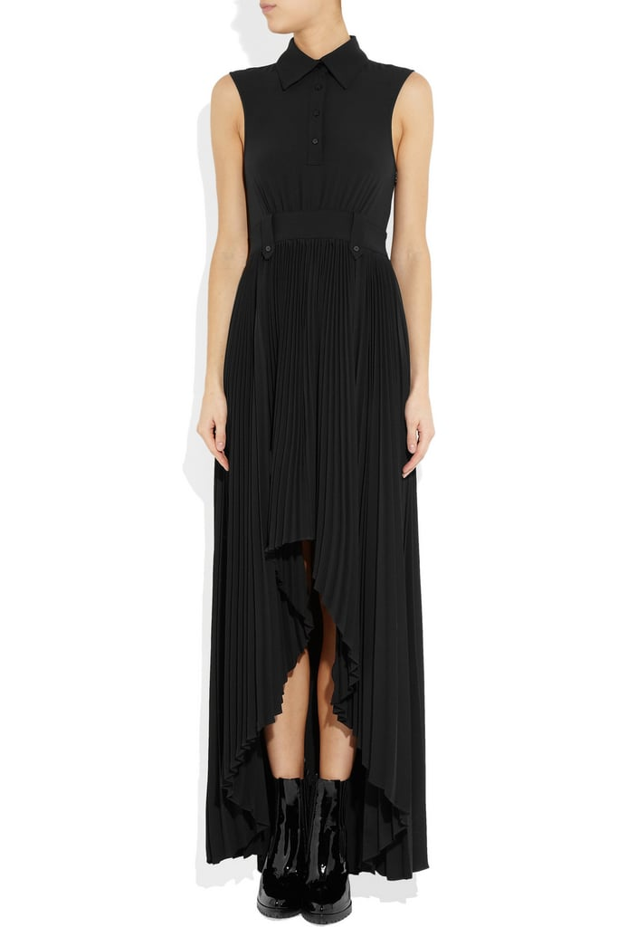 A ladylike-meets-downtown-cool essential that you could dress up with heels and statement jewels or down with a pair of lace-up booties.  Karl Dewi Washed-Satin Gown ($580)