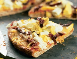 Fast & Easy Dinner: Sun-Dried Tomato, Goat Cheese and Artichoke Pizza