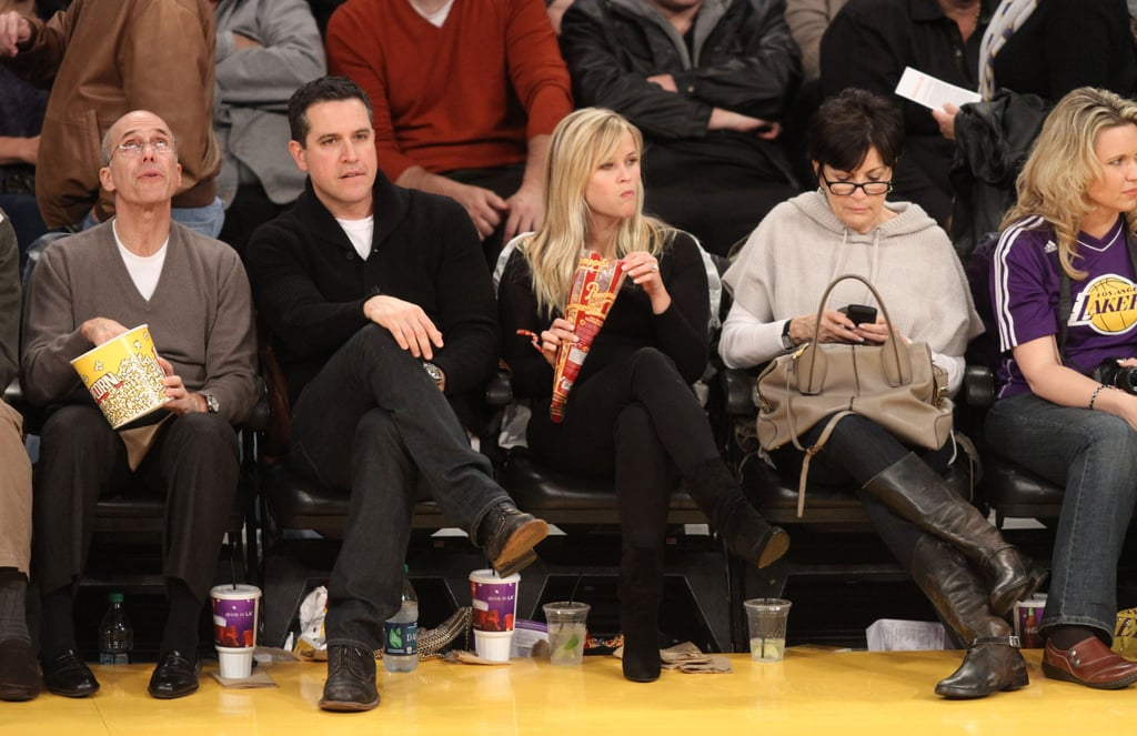Reese Witherspoon and her husband, Jim Toth, cheered on the Lakers, which were playing against the Raptors.