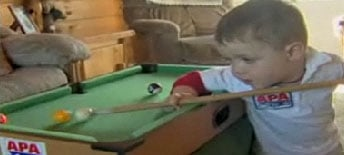 Kidmazing: Tot Knows How to Break 'Em on the Pool Table!
