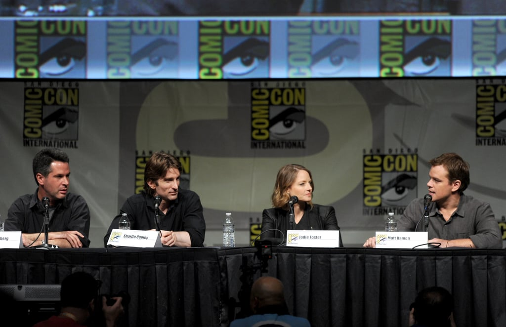 Sharlto Copley, director Neill Blomkamp, Matt Damon, and Jodie Foster talked Elysium.