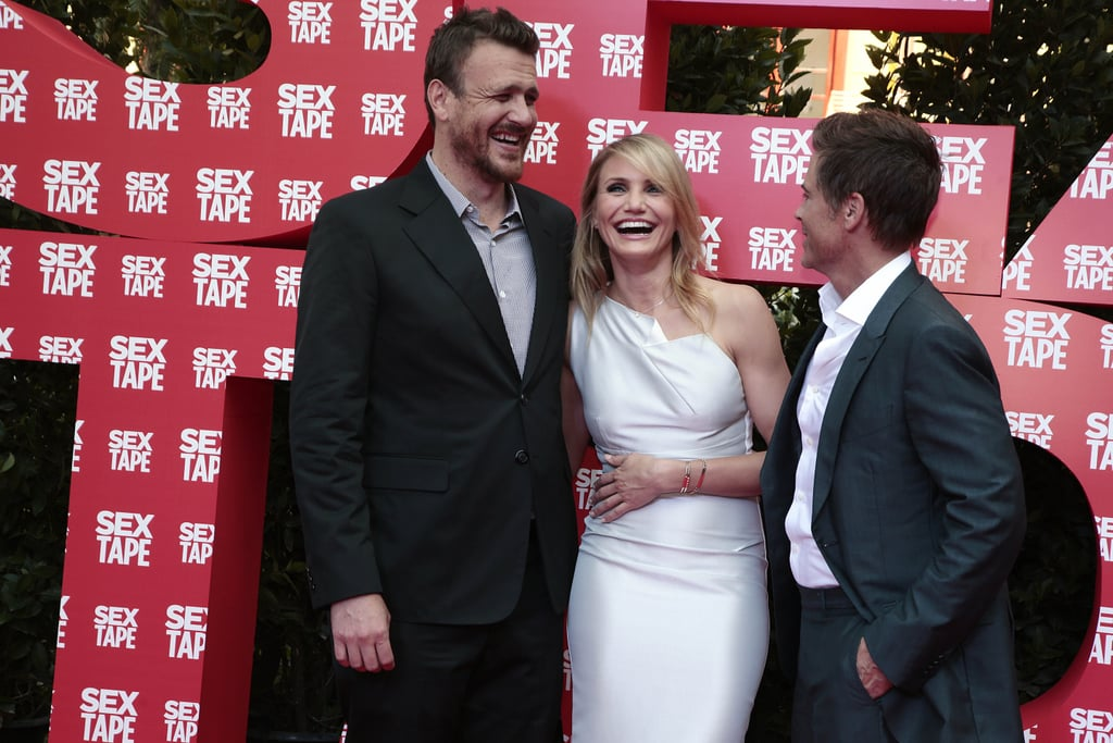 Jason Segel, Cameron Diaz, and Rob Lowe promoted their movie Sex Tape in Spain on Wednesday.