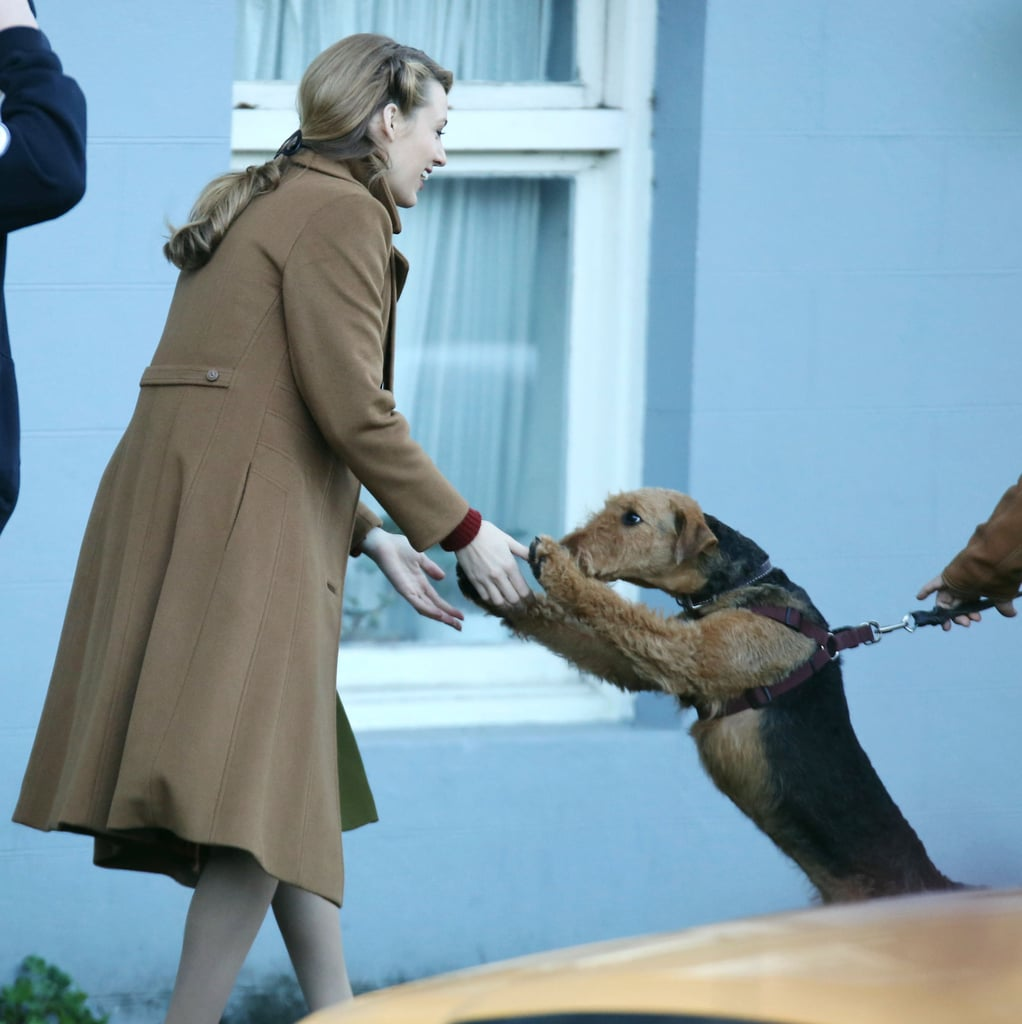 Meanwhile, Blake Lively made a very special friend on Monday when she greeted a dog on the set of her new project in Vancouver.
