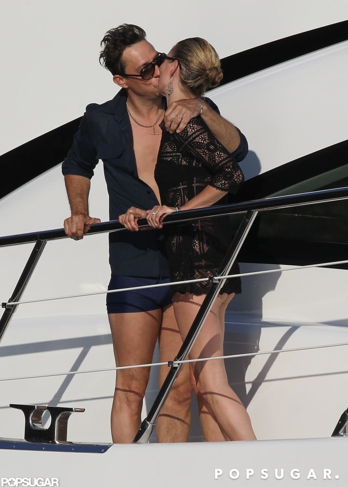 Kate Moss and Jamie Hince embraced on the deck of their yacht during their July 2011 honeymoon to Corsica.