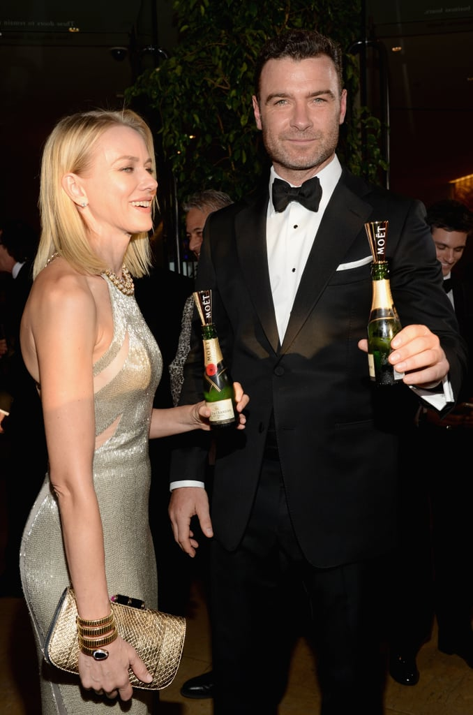Naomi Watts and Liev Schreiber popped minibottles of Moët & Chandon before the show.