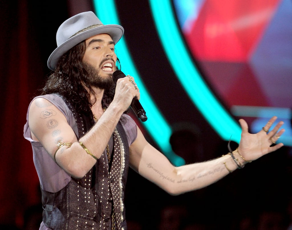 Russell Brand kept the crowd of Hollywood stars on their toes.