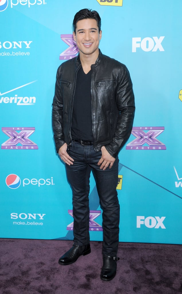 Mario Lopez posed for photos at The X Factor finalists party.