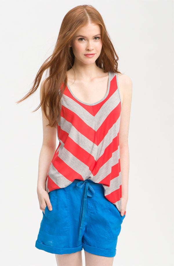 A bold chevron pattern looks clean and contemporary with bright, slouchy shorts.  Bobeau Chevron Stripe Tank ($29)