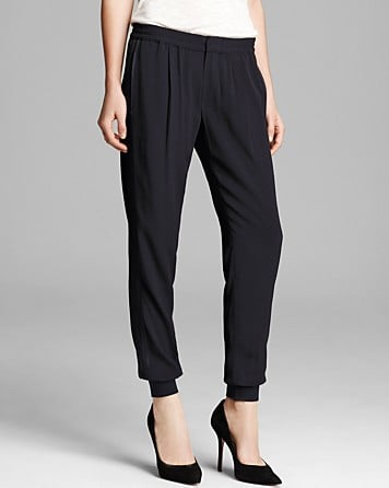 With a contemporary balance of sophistication and urban cool, these crepe Vince joggers ($295) will be my new staple for work and play. The pleated front and tonal tuxedo-stripes cater to the prim and polished, while the low-slung hip and banded ankles lend a sporty-chic touch.  — MV