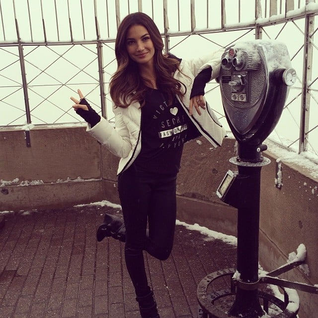 Lily Aldridge helped promote Victoria's Secret at the top of the Empire State Building. Source: Instagram user victoriassecret