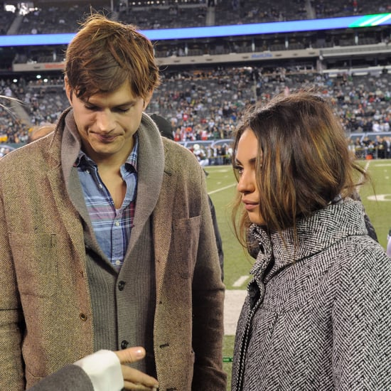 Mila Kunis and Ashton Kutcher at the NY Jets Game
