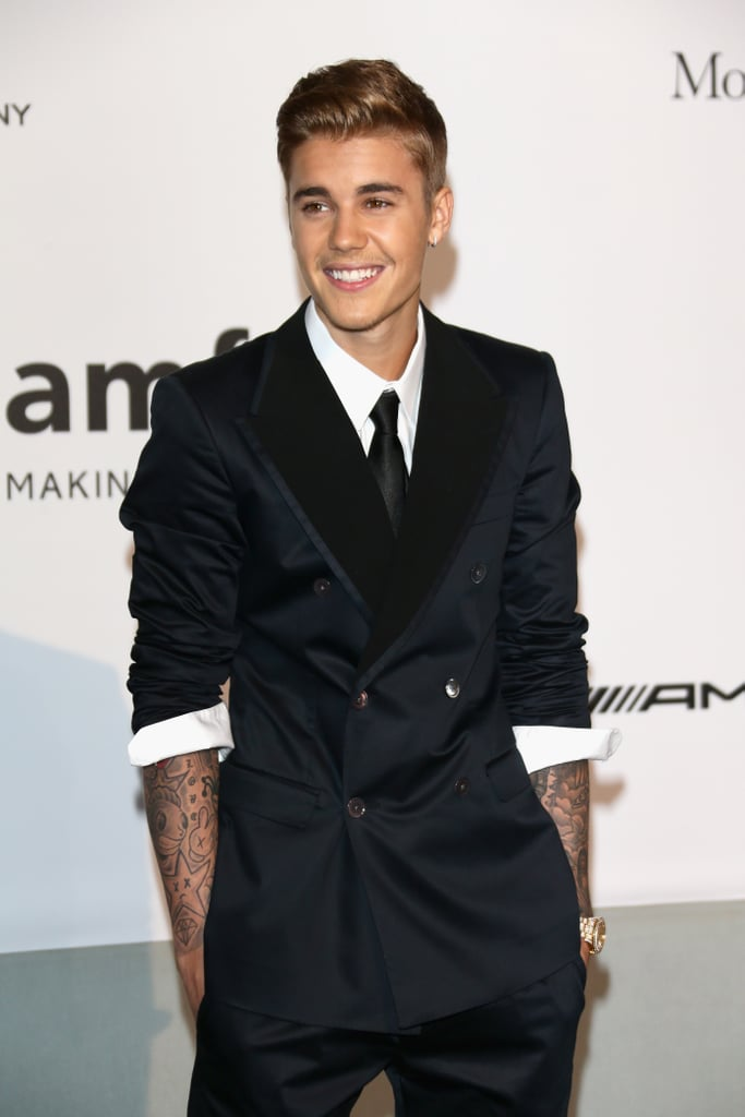 Justin Bieber smiled for the cameras.
