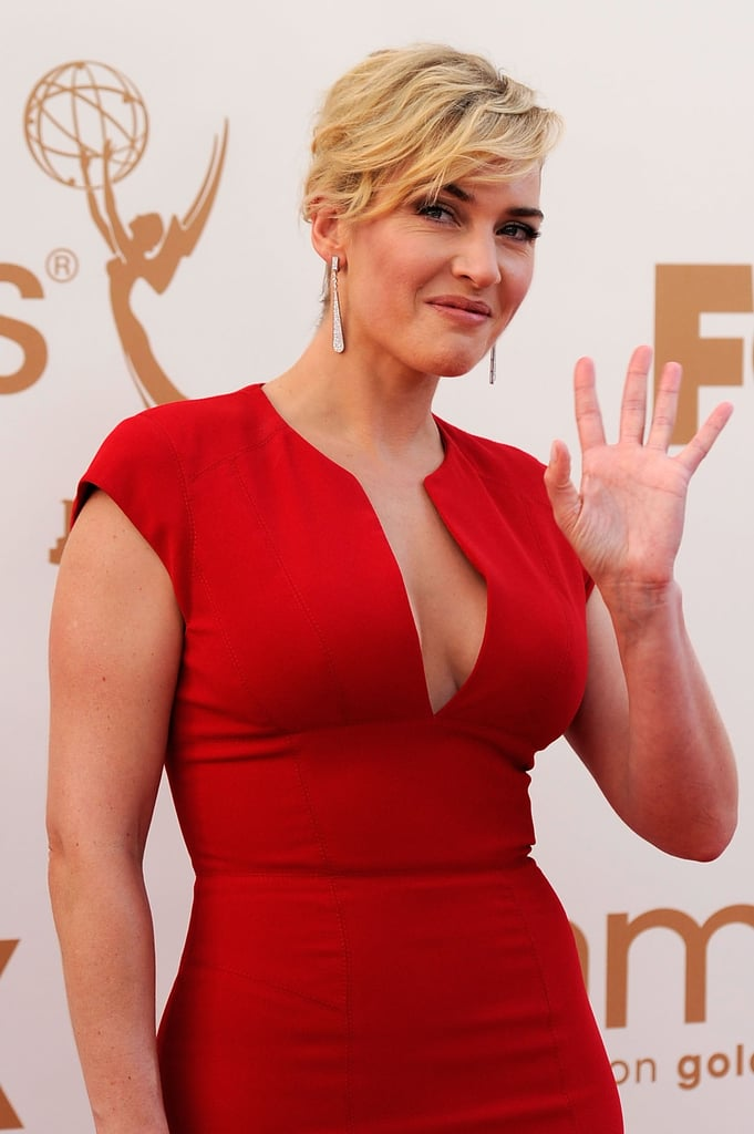 Kate Winslet in red Elie Saab at the 2011 Emmy Awards.