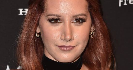 Ashley Tisdale Shines In Starry, Sheer Dress With A Thigh-High Slit