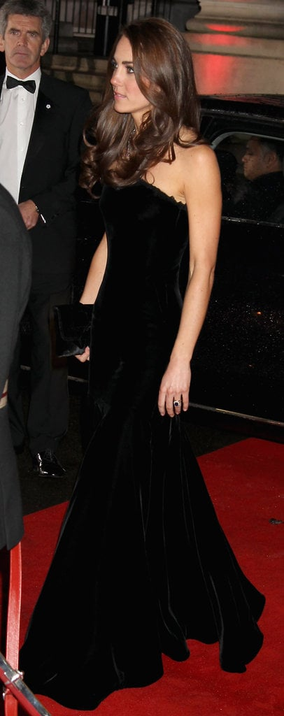 A sweeping side shot of Kate's velvet Alexander McQueen gown.