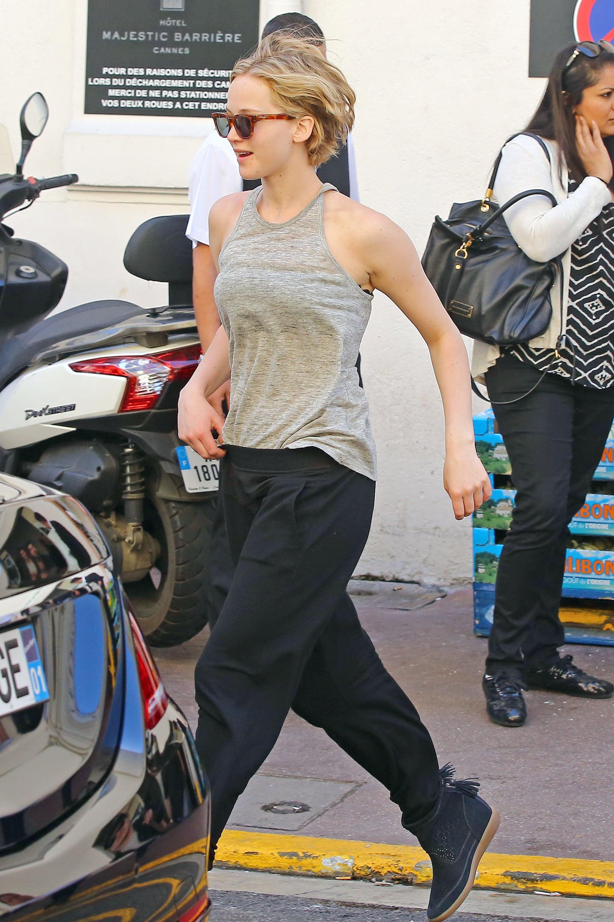 Jennifer Lawrence walked around Cannes on Sunday.